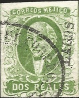 J) 1856 MEXICO, HIDALGO, 2 REALES GREEN, LAGOS DISTRICT, PLATE II, OVAL CANCELLATION, MN - Mexico