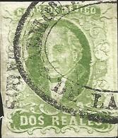J) 1856 MEXICO, HIDALGO, 2 REALES GREEN, LAGOS DISTRICT, NICE OVAL CANCELLATION, MN - Mexico