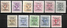 [830208]TB//**/Mnh-c:14e-Belgique 1962-63 - PRE725/35,  Lions, SNC - Tipo 1951-80 (Cifra Su Leone)