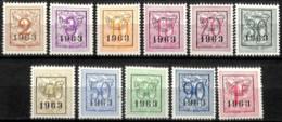[830210]TB//**/Mnh-c:24e-Belgique 1963 - PRE736/46,  Lions, SC, SNC - Tipo 1951-80 (Cifra Su Leone)