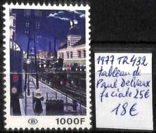 [830522]TB//**/Mnh-Belgique 1977 - TR432, Paul Delvaux, Faciale 25?, Trains, Transports, Arts, Peinture - Tableaux - Trains