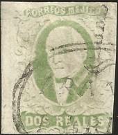 J) 1856 MEXICO, HIDALGO, 2 REALES LIGHT GREEN, JUMBO MARGINS, OVAL CANCELLATION, MERIDA DISTRICT, MN - Mexico