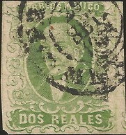 J) 1856 MEXICO, HIDALGO, 2 REALES GREEN, MEXICO DISTRICT, PLATE III, DISCOLORED AFTER PRINTING, MN - Mexico