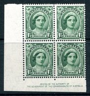 Australia 1942-50 KGVI Definitives - 1½d Queen Elizabeth Imprint Block Of 4 MNH (SG 204) - 1937-52 George VI