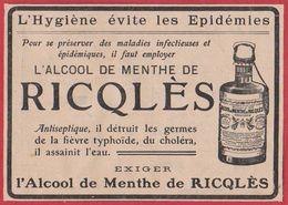 Ricqlès. L'hygiène évite Les épidémies. Antiseptique, Il Détruit Les Germes De La Fièvre Typhoïde, Du Choléra... 1910. - Publicités