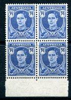 Australia 1942-50 KGVI Definitives - 3½d King George VI Block Of 4 MNH (SG 207) - Nuovi