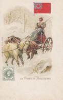 La Poste En Angleterre English Postal Service Mail Delivery Theme, Stamp Image, C1890s/1900s Vintage Postcard - Postal Services
