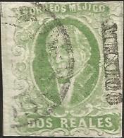 J) 1856 MEXICO, HIDALGO, 2 REALES GREEN, PLATE III, MEXICO DISTRICT, CIRCULAR CANCELLATION, MN - Mexico