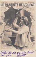 'Le Patriote De L'Ouest' Newspaper Theme France Patriotism Beautiful Woman, C1900s Vintage Real Photo Postcard - Photographs