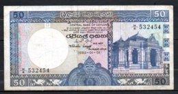 625-Ceylan Billet De 50 Rupees 1982 H4 - Sri Lanka