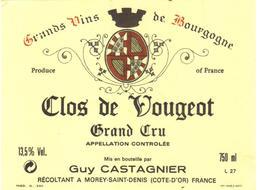 Etiquette Clos De Vougeot - Domaine Catagnier - Morey Saint Denis - Cote D'Or - 21 - Bourgogne