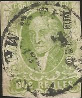 J) 1856 MEXICO, HIDALGO, 2 REALES YELLOW GREEN, MEXICO DISTRICT, CIRCULAR CANCELLATION, MN - Mexico