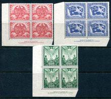 Australia 1946 Victory Commemoration Imprint Blocks Of 4 Set MNH (SG 213-215) - Ungebraucht