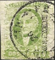 J) 1856 MEXICO, HIDALGO, 2 REALES YELLOW GREEN, MEXICO DISTRICT, DRY PRINT, JUMBO MARGINS, MN - Mexico