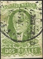 J) 1856 MEXICO, HIDALGO, 2 REALES DEEP GREEN, CIRCULAR CANCELLATION, MN - Mexico