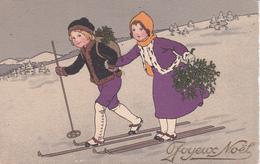 CPA  Peinte à La Main Enfant Sport D' Hiver Ski Skieur Fête Joyeux Noël  Illustrateur Style Pauli EBNER (2 Scans) - Illustrateurs & Photographes