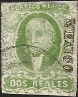 J) 1856 MEXICO, HIDALGO, 2 REALES BLUE GREEN, DRY PRINT, DISTRICT MEXICO, CIRCULAR CANCELLATION, MN - Mexico