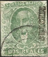 J) 1856 MEXICO, HIDALGO, 2 REALES BLUE GREEN, MEXICO DISTRICT, CIRCULAR CANCELLATION, MN - Mexico