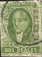 J) 1856 MEXICO, HIDALGO, 2 REALES, DEEP GREEN, CIRCULAR CANCELLATION, MN - Mexico