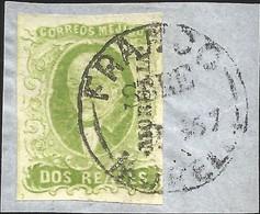 J) 1856 MEXICO, HIDALGO, FRAGMENT OF THE LETTER, 2 REALES APPLE GREEN, MORELIA DISTRICT, CIRCULAR CANCELLATION, MN - Mexico