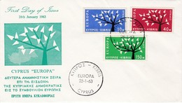 FDC PREMIER JOUR EUROPA 1962 Chypre - Europa-CEPT
