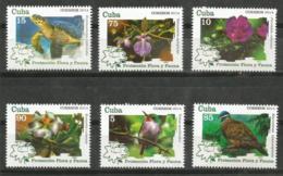 Cuba 2014 Protection Flowers And Animals (Turtles, Birds, Pigeon, Flowers) 6v + S/S MNH - Palomas, Tórtolas