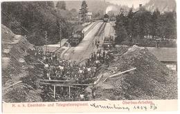 KORNEUBURG K U K Eisenbahn Und Telegrafenregiment Dampf Lokomotive Bauzug Oberbau Arbeiten 21.4.1907 Gelaufen - Korneuburg