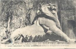 2022. BELFORT . LE LION . OEUVRE DE BARTHOLDI + MESURES . AFFR AU VERSO LE 29 MAI 1910 . 2 SCANES - Belfort – Le Lion