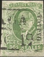 J) 1856 MEXICO, HIDALGO, 2 REALES DARK GREEN, OAXACA DISTRICT, PLATE II, BLACK BOX CANCELLATION, JUMBO MARGINS, MN - Mexico