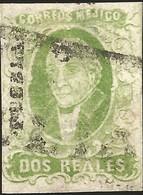 J) 1856 MEXICO, HIDALGO, 2 REALES GREEN, PUEBLA DISTRICT, FULL MARGINS, MN - Mexico