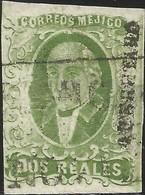 J) 1856 MEXICO, HIDALGO, 2 REALES GREEN, QUERETARO DISTRICT, FULL MARGINS, MN - Mexico