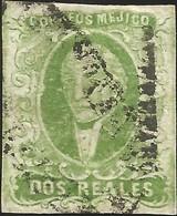 J) 1856 MEXICO, HIDALGO, 2 REALES GREEN, QUERETARO DISTRICT, CELAYA CANCELLATION, MN - Mexico