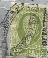 J) 1856 MEXICO, HIDALGO, FRAGMENT OF THE LETTER, 2 REALES GREEN, BIG DISTRICT NAME QUERETARO, OVAL CANCELLATION, MN - Mexico