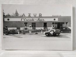 Carte Photo. Sézanne. Sur La Route De Paris. Station-Service. Azur. L'Escale Bar. 1953. Dos Nu - Sezanne