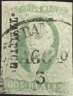 J) 1856 MEXICO, HIDALGO, 2 REALES ESMERALD, TAMPICO DISTRICT, SHORT MARGINS, MN - Mexico