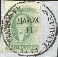 J) 1856 MEXICO, HIDALGO, FRAGMENT OF THE LETTER, 2 REALES ESMERALD, TAMPICO ON PIECE, JUMBO MARGINS, CIRCULAR CANCELLATI - Mexico