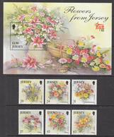 1998 Jersey Flowers Fleurs   Complete Set Of 6 + Souvenir Sheet MNH @  WELL BELOW FACE VALUE - Jersey