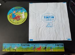 TINTIN HERGE LOMBARD ETIQUETTE + BANDEAU + EMBALLAGE FROMAGE BD FRENCH CHEESE LABEL KASE FORMAGGIO QUESO - Cheese