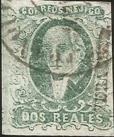 J) 1856 MEXICO, HIDALGO, 2 REALES BLUE GREEN, VERACRUZ DISTRICT, PLATE II, CIRCULAR CANCELLATION, MN - Mexico