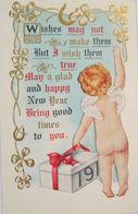 """Neujahr, Engel, Jahreszahl, Kleeblatt"" 1912, Prägekarte ♥  (3823) - New Year"
