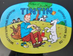 TINTIN HERGE LOMBARD ETIQUETTE OVALE MILOU + BANDEAU + EMBALLAGE FROMAGE BD FRENCH CHEESE LABEL KASE FORMAGGIO QUESO - Cheese