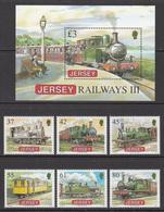 2009 Jersey Railways Locomotives Complete Set Of 6 +   Souvenir Sheet MNH @  WELL BELOW FACE VALUE - Jersey