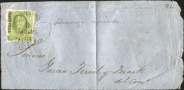 J) 1856 MEXICO, FRONT OF LETTER, HIDALGO, 2 REALES YELLOW GREEN, VERACRUZ DISTRICT, PLATE II, XF - Mexico
