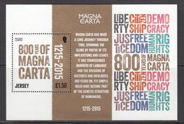 2015 Jersey Magna Carta Democracy Constitution Souvenir Sheet MNH @  WELL BELOW FACE VALUE - Jersey