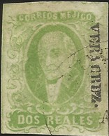 J) 1856 MEXICO, HIDALGO, 2 REALES YELLOW GREEN, VERACRUZ DISTRICT, PLATE II, MN - Mexico