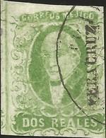 J) 1856 MEXICO, HIDALGO, 2 REALES GREEN, LEFT MARGIN VERACRUZ DISTRICT, PLATE II, MN - Mexico
