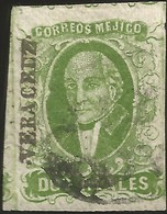 J) 1856 MEXICO, HIDALGO, 2 REALES DARK GREEN, VERACRUZ DISTRICT, AUTLAN, MN - Mexico