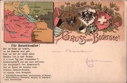 ! Schöne Litho Ansichtskarte 1899, Gruss Vom Bodensee, Schiffspost, 5 Länder Frankatur, Schweiz, Österreich, Bayern - Brieven En Documenten