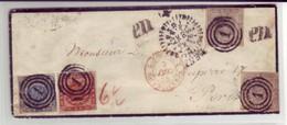 Denmark - 1855 3 Color Cover To France With 2sk-4sk-16sk Franking Scarce - 1851-63 (Frederik VII)