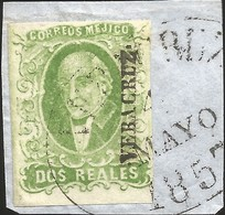 J) 1856 MEXICO, HIDALGO, 2 REALES GREEN APPLE, FRAGMENT OF LETTER, CIRCULAR CANCELLATION, MN - Mexico